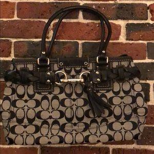 Coach signature tassel leather handbag